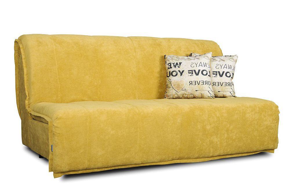 Желтый диван прямой Мальта аккордеон со спинкой ( от 0,7 м до 2 м в ширину ) Константа