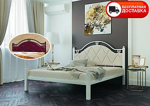 Полуторне ліжко Есмеральда Люкс 140*200 (бежевий/білий оксамит/білий) «Метал-Дизайн»