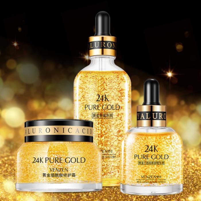 Набор с Био-золотом VENZEN 24K Pure Gold, 3 средства