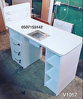 Белый маникюрный стол c вытяжкой и стеклянными полками. Модель V1057/0016, фото 1