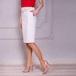 Белая женская прямая юбка «Фрида» (44-54 р)