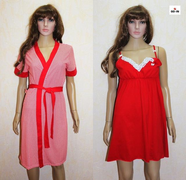 Комплект халат і сорочка мереживо для вагітних червоний горох 44-54р.