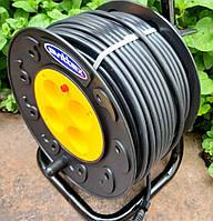 Подовжувач на котушці 40м 2х1,5 мм2 ПВС 4 розетки SVITTEX з термозахистом SV-006, фото 1