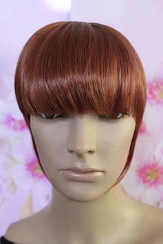 Челка на заколках искусственные волосы темно светло красный