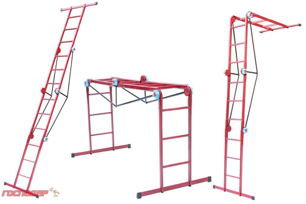 Лестница трансформер металлическая 3*4 ступени, h=1035-1650-3700 мм, max 150 кг