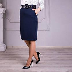 Женская прямая юбка в синем цвете «Фрида» (44-54 р)