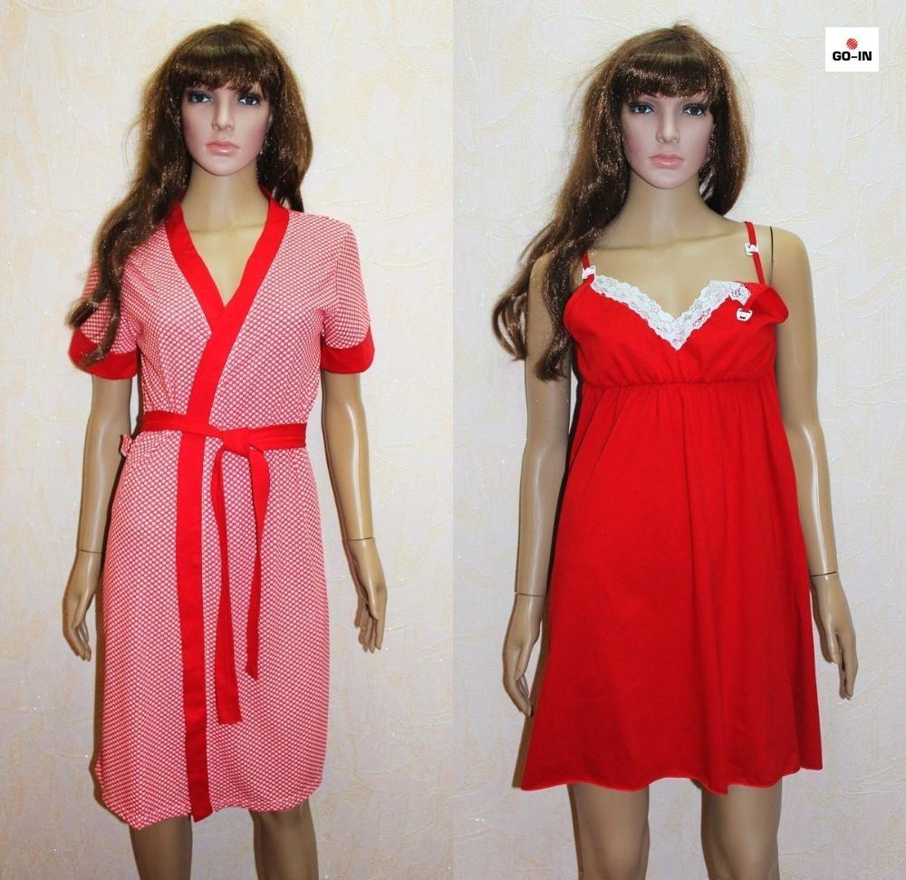 Комплект халат і сорочка для вагітних червоний горох 44-58р.
