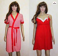 Комплект халат і сорочка для вагітних червоний горох 44-58р., фото 1