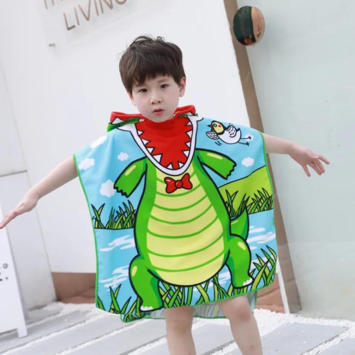 """Дитячий пляжний рушник - пончо """"Динозаврик"""""""