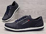40р. Туфлі чоловічі спортивні кросівки синього кольору (Клс-7с), фото 5