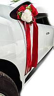 Украшение на ручку свадебных машин Букет Роз. Цвет красный.