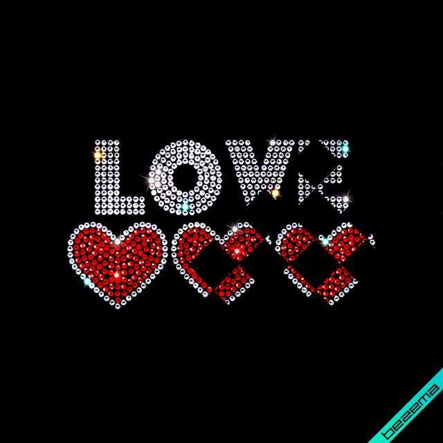 Аппликации на рюкзаки Love hearts (Стекло, 2мм-кристалл, 2мм-красн.)