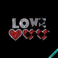 Аппликации на рюкзаки Love hearts (Стекло, 2мм-кристалл, 2мм-красн.), фото 1