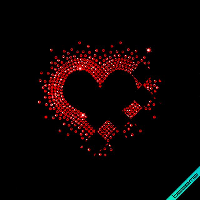 Стразы на белье Сердце 02 (Стекло, ss6-кристалл)