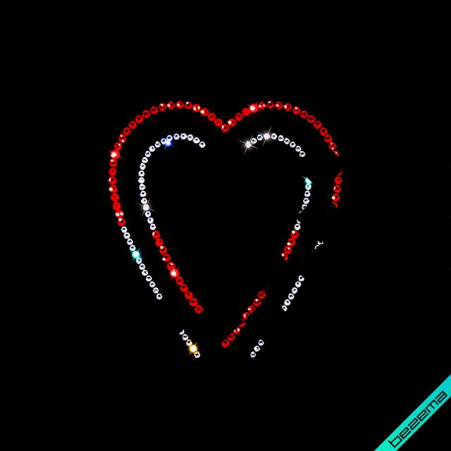 Термопереводки на брюки термо Сердце 03 (Стекло, ss6-кристалл, ss10-красн.)