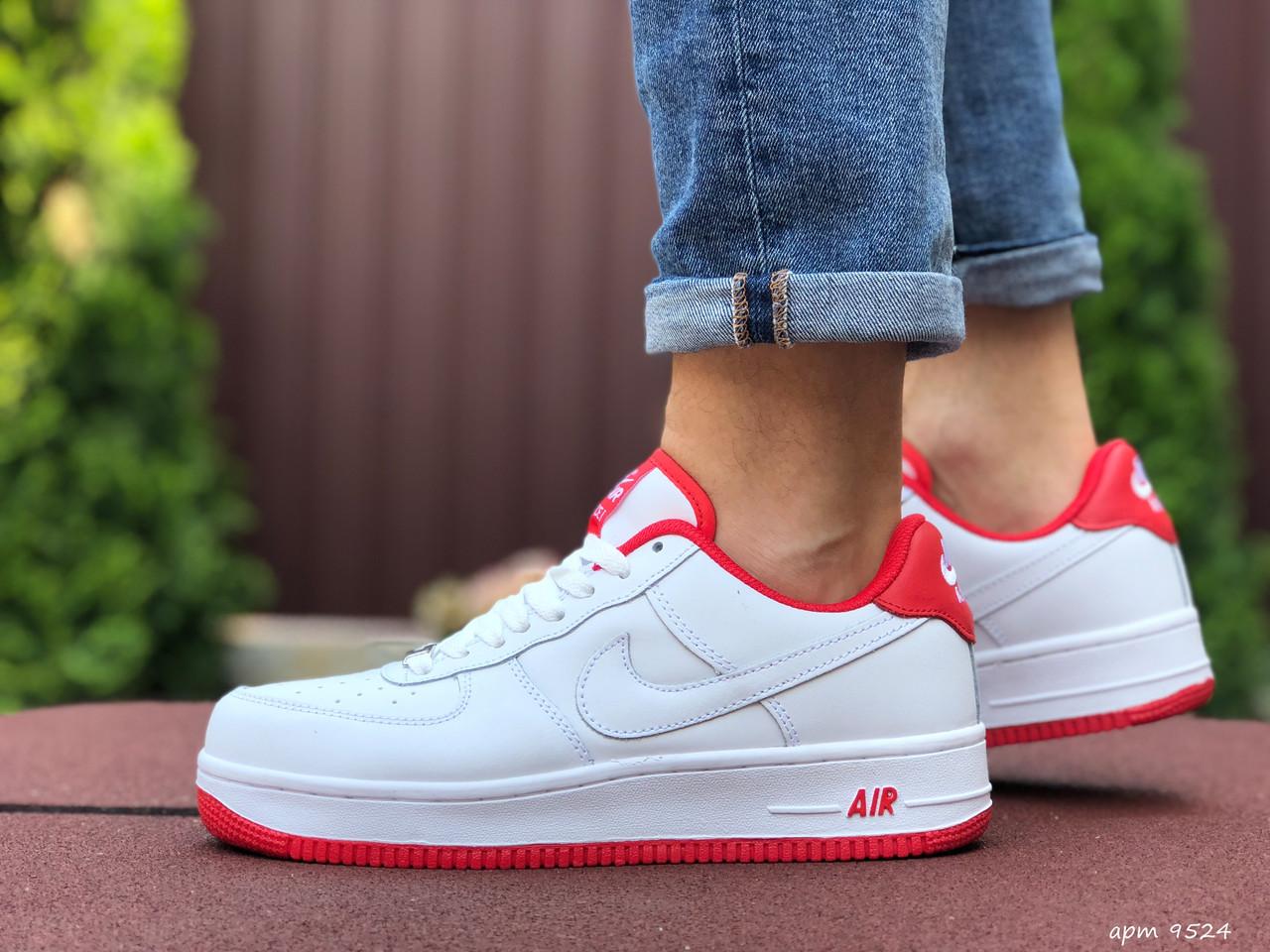 Чоловічі кросівки Nike Air Force, білі з червоним / Найк форс низькі / чоловічі кросівки (ТОП репліка ААА+)