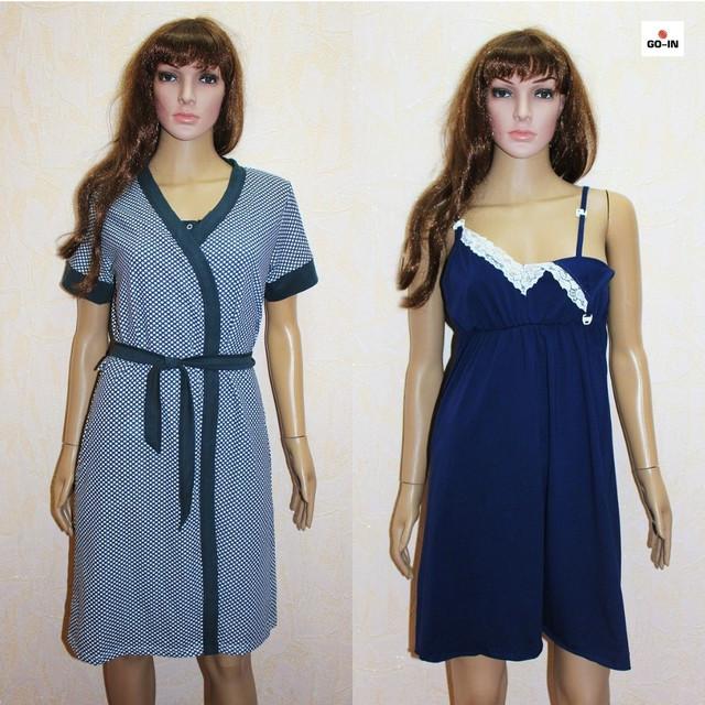 Комплект халат і сорочка мереживо для вагітних і годуючих синій горох 44-58р.