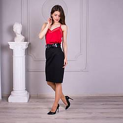 Прямая юбка в чёрном цвете «Фрида» (44-54 р)