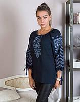 """Блуза жіноча вишита хрестиком на попліні """"Колоскова"""", фото 1"""