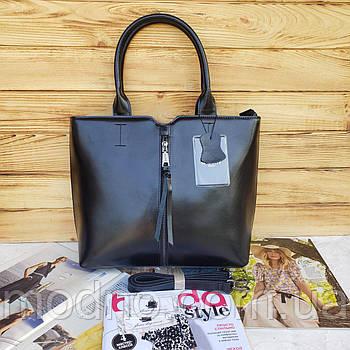 Жіноча шкіряна сумка класична з довгим ремінцем Galanty