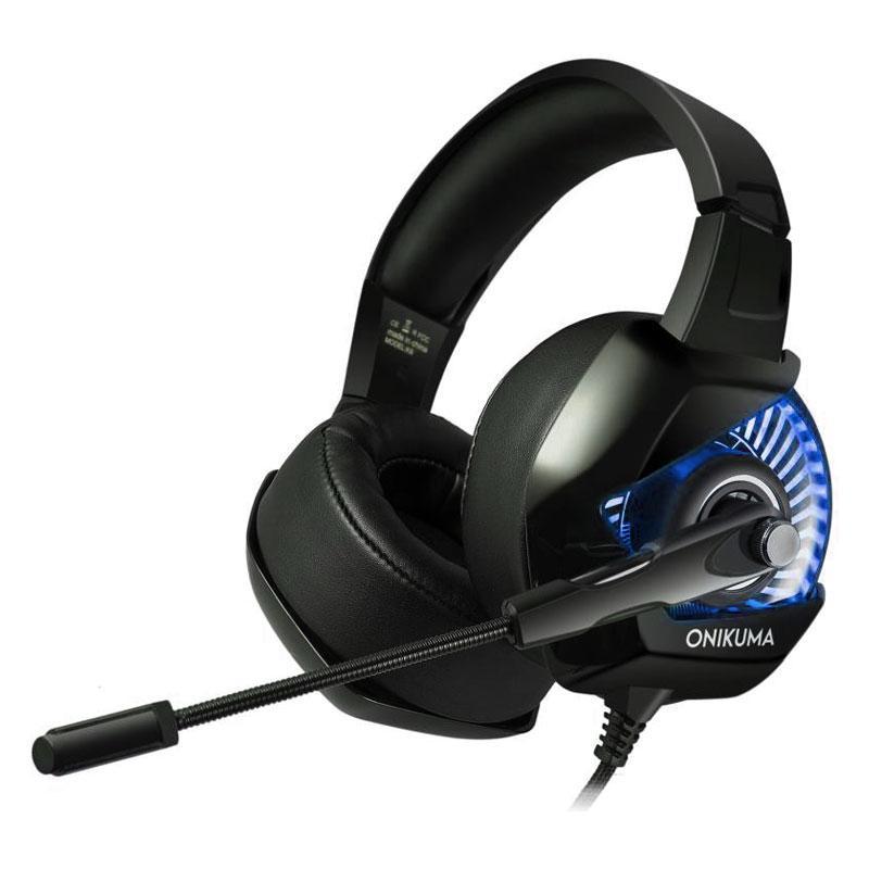Игровые наушники с микрофоном и подсветкой Onikuma K6 Black/blue геймерская гарнитура черные