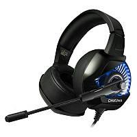 Игровые наушники с микрофоном и подсветкой Onikuma K6 Black/blue геймерская гарнитура черные, фото 1