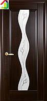 Дверь межкомнатная Новый стиль Волна Р2 ПВХ Маэстра Каштан стекло с прозрачным рисунком
