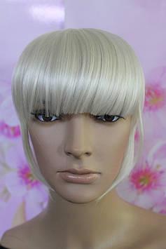 Челка на заколках искусственные волосы блонд