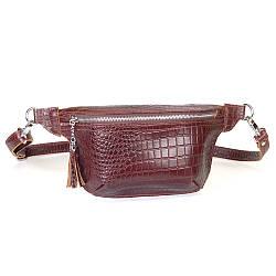 Женская поясная сумочка 01 коричневый кайман  01010206