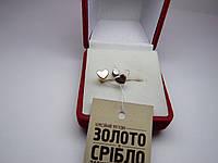 """Золотые женские серьги, пусеты """"Сердечки"""" 1,15 г"""