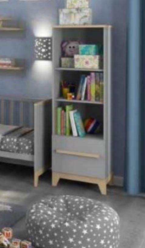 Шкаф книжный Мила серый