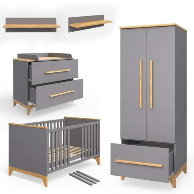 Комплект модульной  мебели в детскую Мила серый