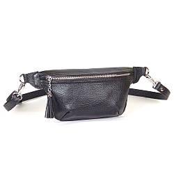 Женская поясная сумочка 01 чорний флотар  01010101