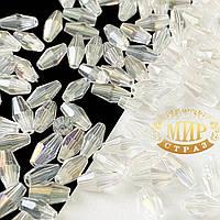 Вытянутый биконус 4*8мм, цвет Crystal AB, 1 шт.