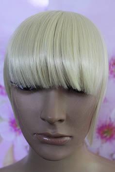 Челка на заколках искусственные волосы натуральный блонд