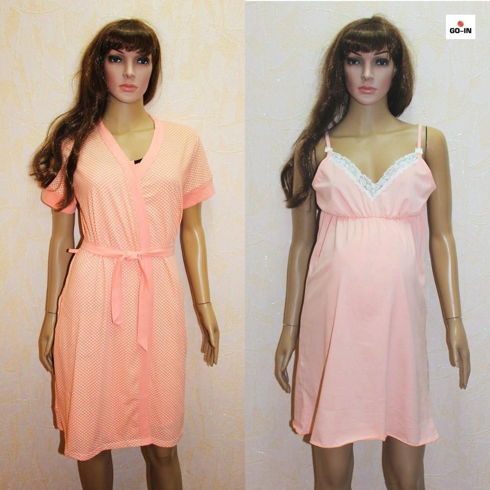 Набор халат и сорочка для беременных и кормящих персиковый горох 44-58р.