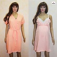 Набір халат і сорочка для вагітних і годуючих персиковий горох 44-58р., фото 1