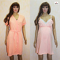 Набор халат и сорочка для беременных и кормящих персиковый горох 44-58р., фото 1