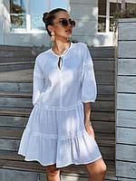 Платье женское белого цвета свободного кроя летнее, фото 1