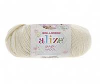 Пряжа Baby Wool 50гр - 175м (01 Кремовый) Alize, Детская пряжа (40%-шерсть, 20%-бамбук, 40%-акрил,