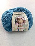 Пряжа Baby Wool 50гр - 175м (245 Голубой) Alize, Детская пряжа (40%-шерсть, 20%-бамбук, 40%-акрил,Турцию