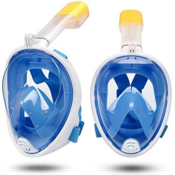 Маска для плавания Полнолицевая панорамная GTM FREE BREATH (L/XL) Синяя с креплением для камеры