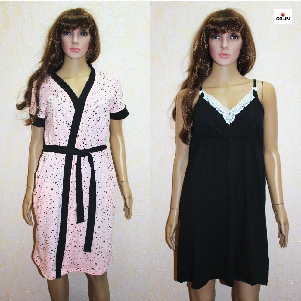 Комплект жіночий халат і сорочка для вагітних і годуючих персиковий-чорний горох 44-54р.