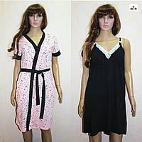 Комплект жіночий халат і сорочка для вагітних і годуючих персиковий-чорний горох 44-54р., фото 1