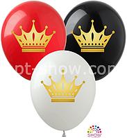 """Воздушные шары """"Короны золотые"""" 12""""(30 см) Пастель чёрный белый,красный.В упак: 100шт ТМ Арт «SHOW»"""