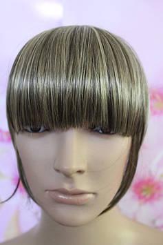 Челка на заколках искусственные волосы  темно русый с мелированием