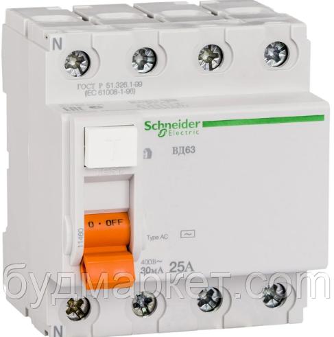 Выключатель автомат. диференц. нагрузки ВД63 4П 40A 30МA Schneider 11463