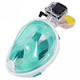 Маска для плавания Полнолицевая панорамная GTM FREE BREATH (L/XL) Бирюза с креплением для камеры, фото 3