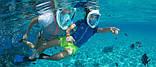Маска для плавания Полнолицевая панорамная GTM FREE BREATH (S/M) Бирюза с креплением для камеры, фото 6