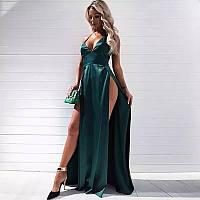 Атласное платье в пол с большими разрезами